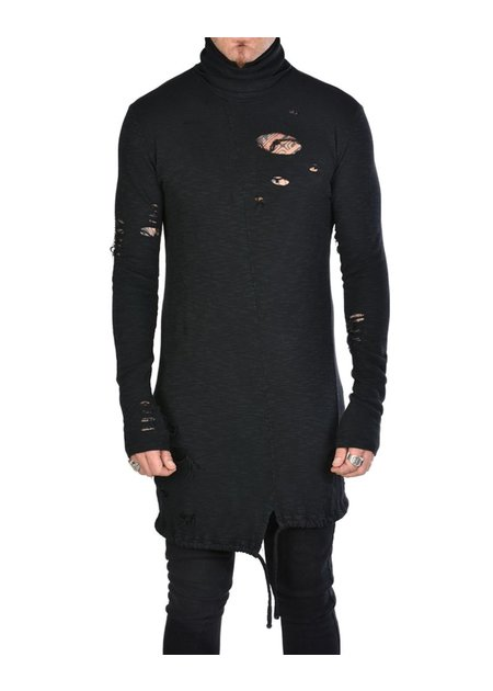 LA HAINE INSIDE US DISTRESSED TURTLENECK SHIRT