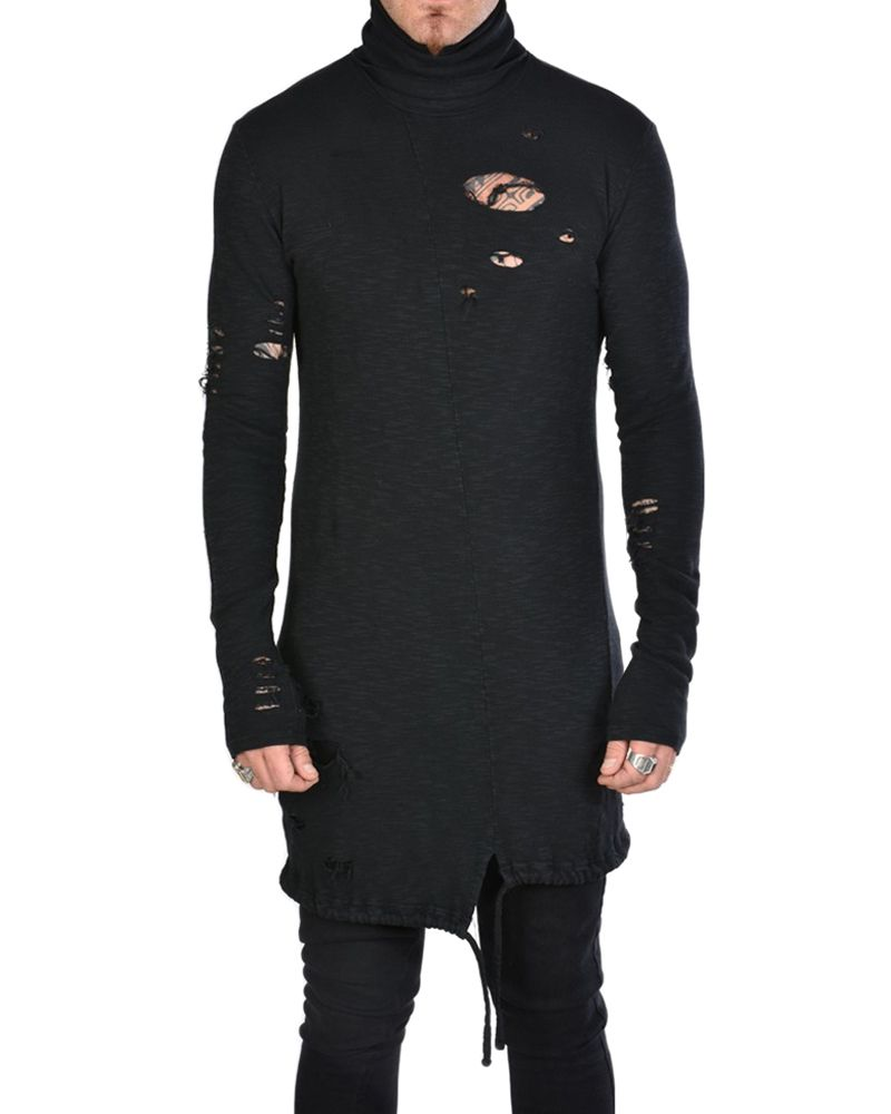 DISTRESSED TURTLENECK SHIRT