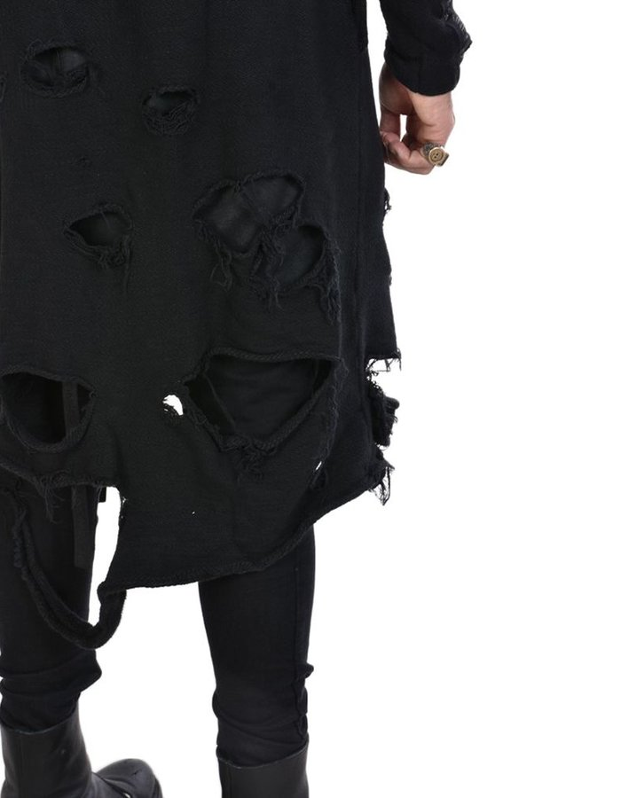LA HAINE INSIDE US DISTRESSED DOUBLE ZIP SWEATER