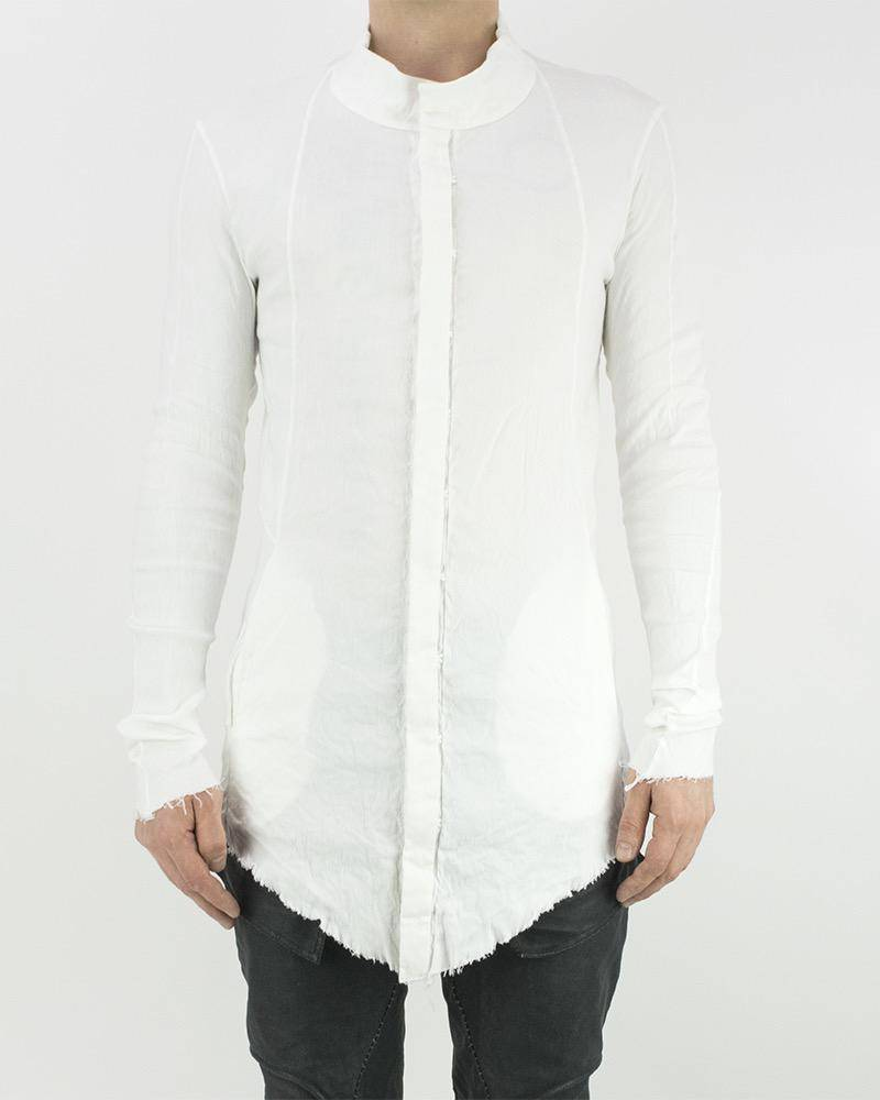High Collar Stretch Linen Shirt White By 139dec Shopuntitled