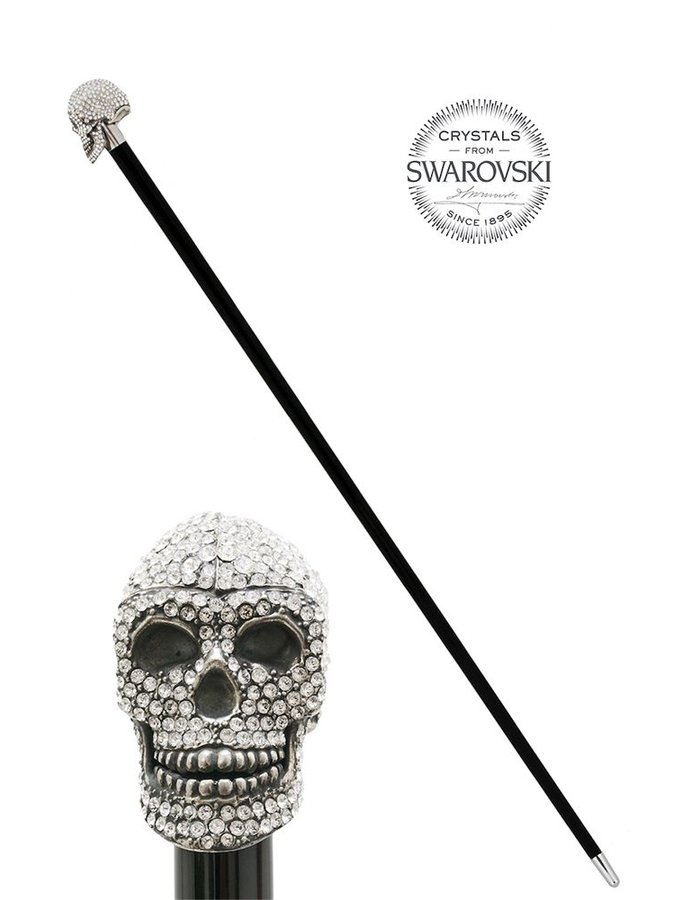 PASOTTI CLEAR SWAROVSKI SKULL WALKING STICK
