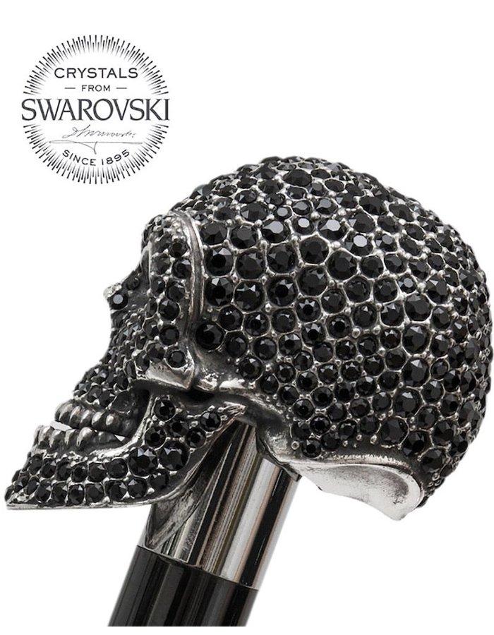 PASOTTI BLACK SWAROVSKI SKULL WALKING STICK