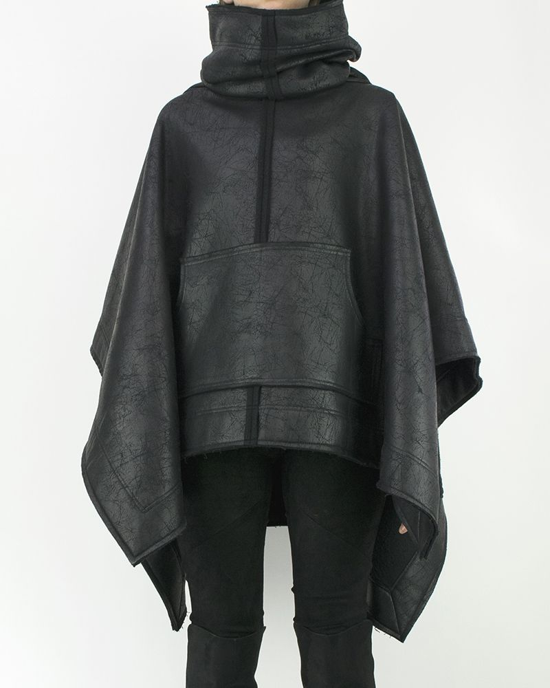 LEATHER EFFECT SHORT PONCHO