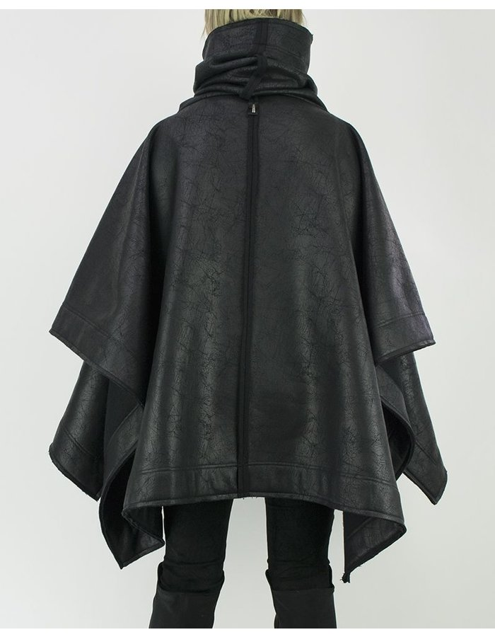 DAVID'S ROAD LEATHER EFFECT SHORT PONCHO