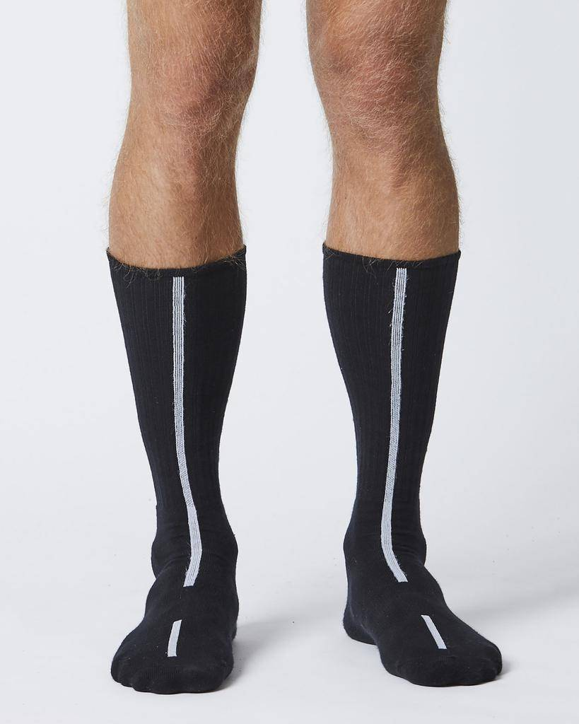 LONG BLACK SOCKS WITH WHITE STRIPE