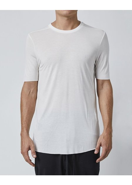 THOM KROM SILK T-SHIRT WITH STITCH DETAILS - OFF WHITE