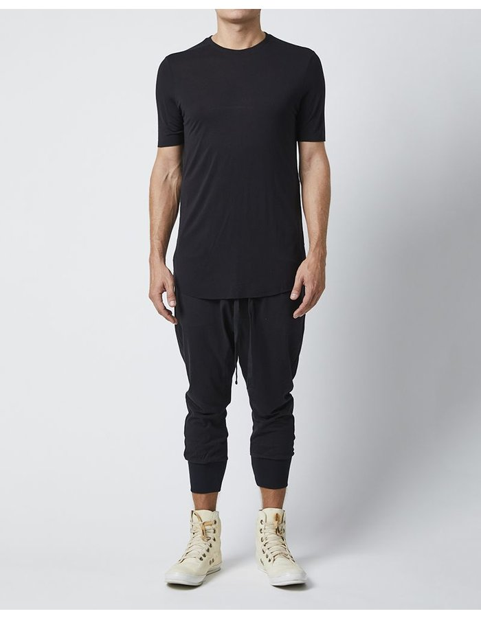 THOM KROM SILK T-SHIRT WITH STITCH DETAILS - BLACK