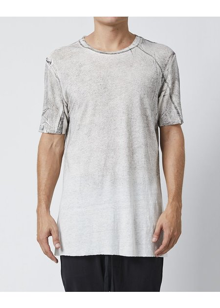 THOM KROM LINEN T-SHIRT WITH STITCH DETAILS - OFF WHITE
