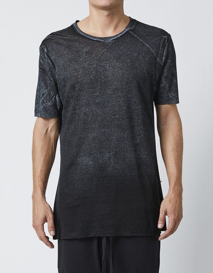 THOM KROM LINEN T-SHIRT WITH STITCH DETAILS - BLACK