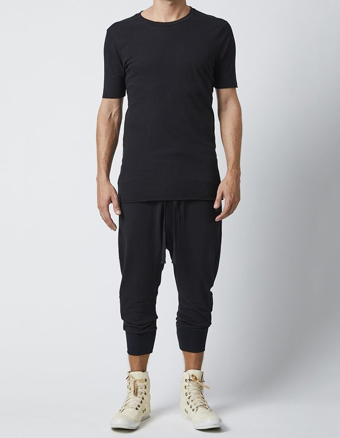 THOM KROM SHORT SLEEVE WITH STITCH DETAILS - BLACK