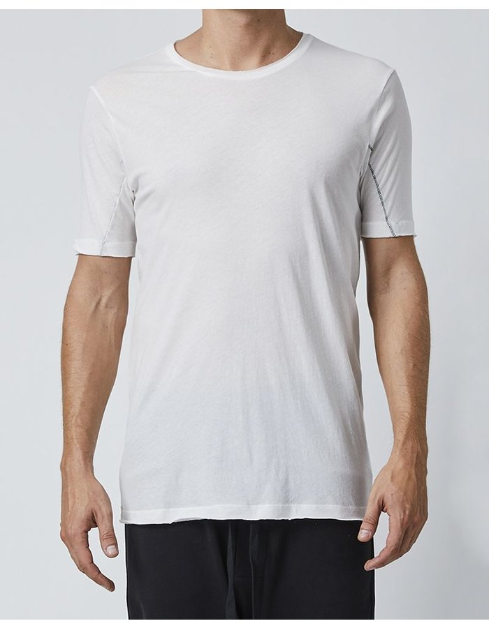 THOM KROM T-SHIRT WITH STITCH DETAILS - OFF WHITE