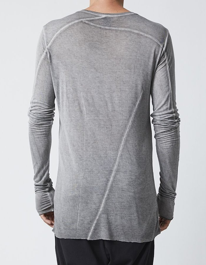 THOM KROM LONG SLEEVE T-SHIRT WITH STITCH DETAILS - DIRT