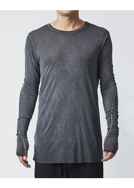 THOM KROM LONG SLEEVE T-SHIRT WITH STITCH DETAILS - BLACK