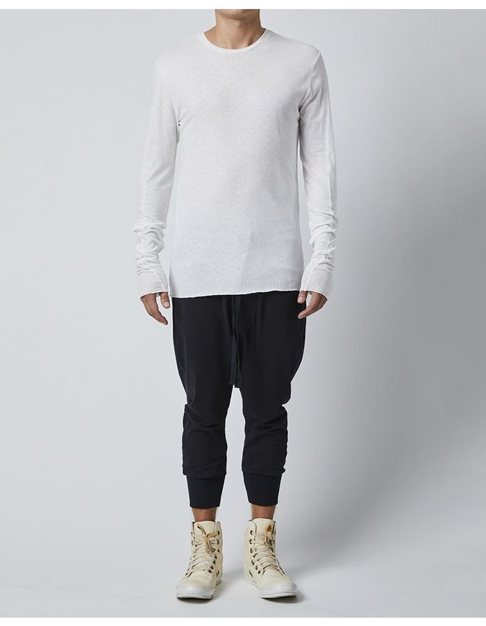 THOM KROM LONG SLEEVE T-SHIRT WITH DIAGONAL STITCH - OFF WHITE