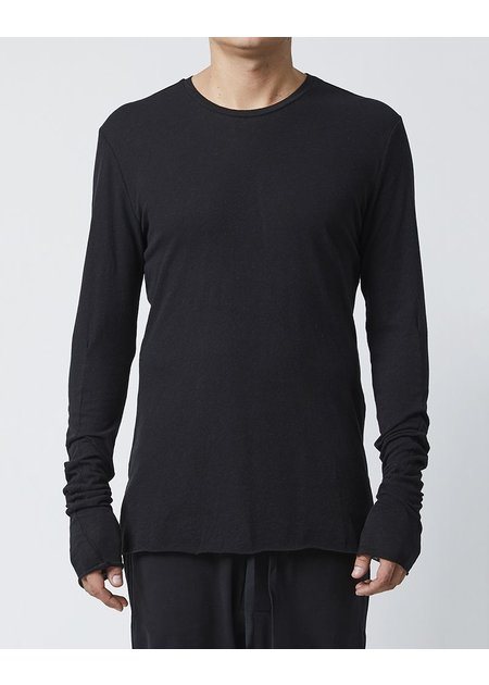 THOM KROM LONG SLEEVE T-SHIRT WITH DIAGONAL STITCH - BLACK