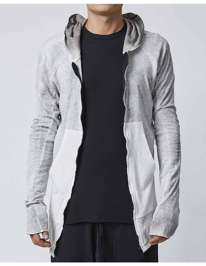 THOM KROM ZIPPERED HOODIE WITH DIAGONAL STITCHING - OFF WHITE