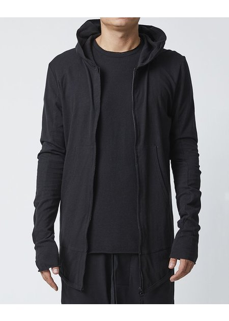 THOM KROM ZIPPERED HOODIE WITH DIAGONAL STITCHING - BLACK