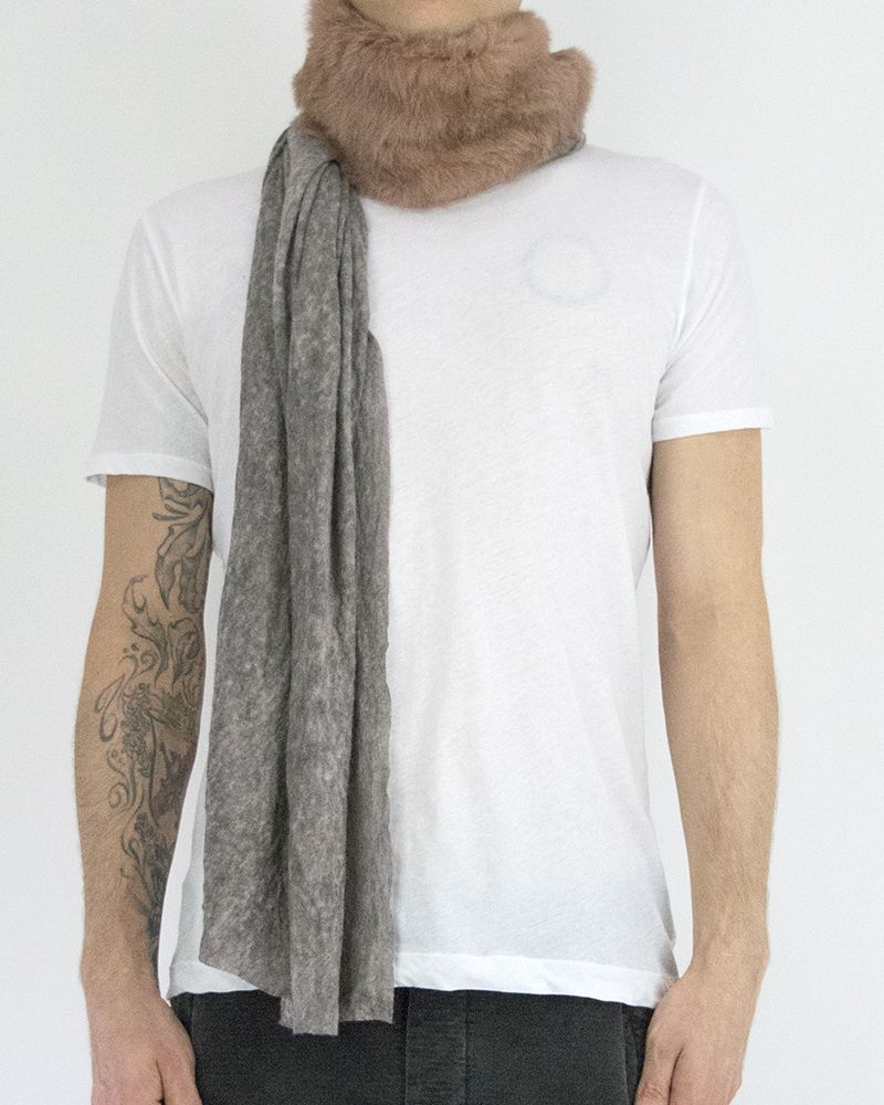 URONI RABBIT AND SILK MODAL SCARF -  GREY & PEACH