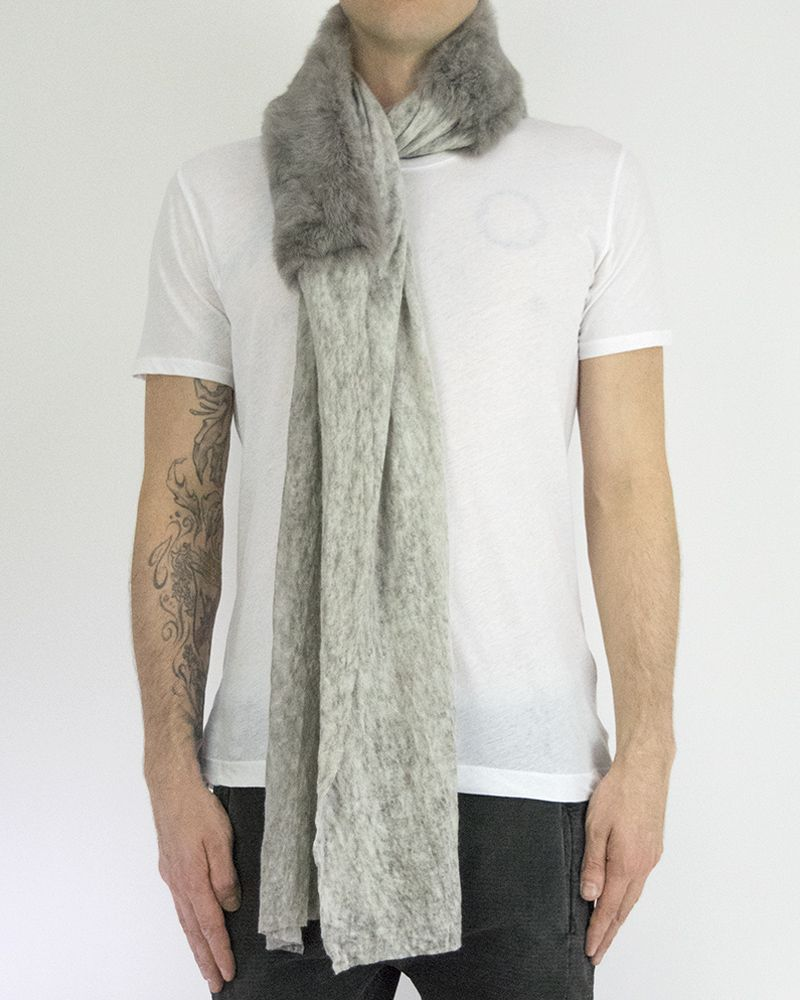 URONI RABBIT AND SILK MODAL SCARF - GREY