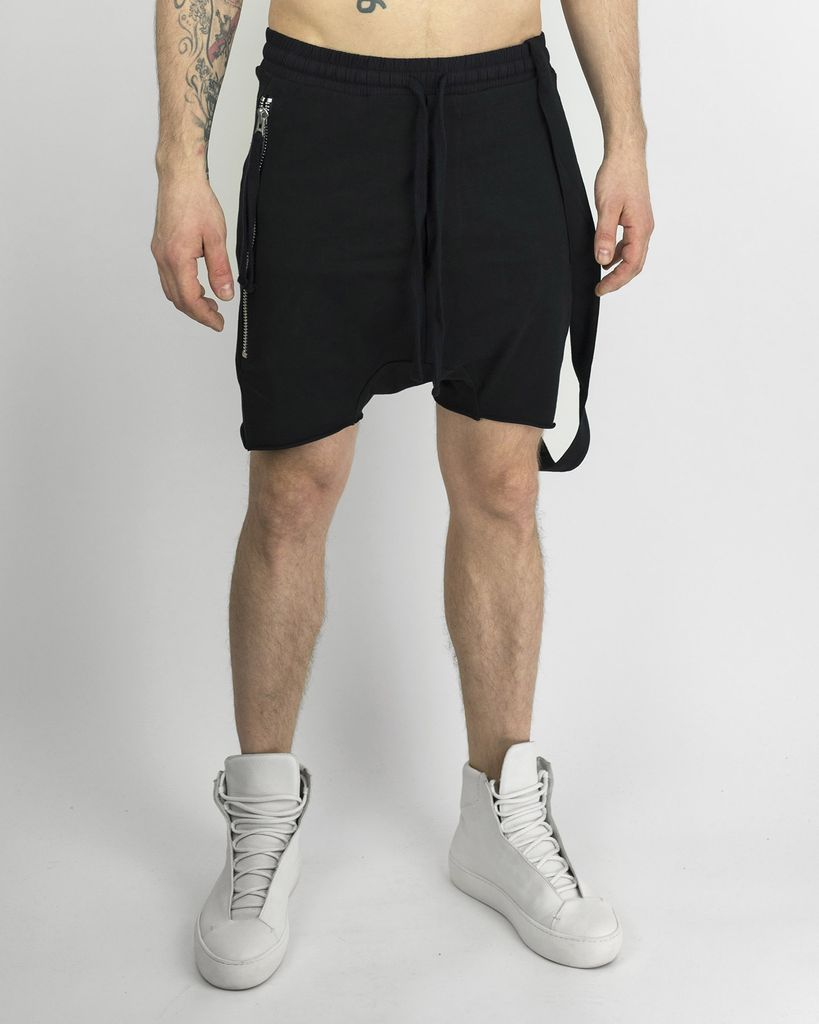 SINGLE SUSPENDER SHORTS - BLACK