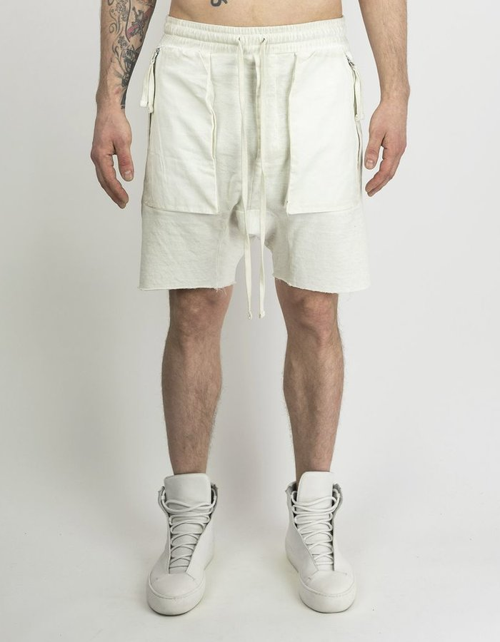 THOM KROM DRAWSTRING SHORTS WITH ZIP FRONT POCKETS - OFF WHITE