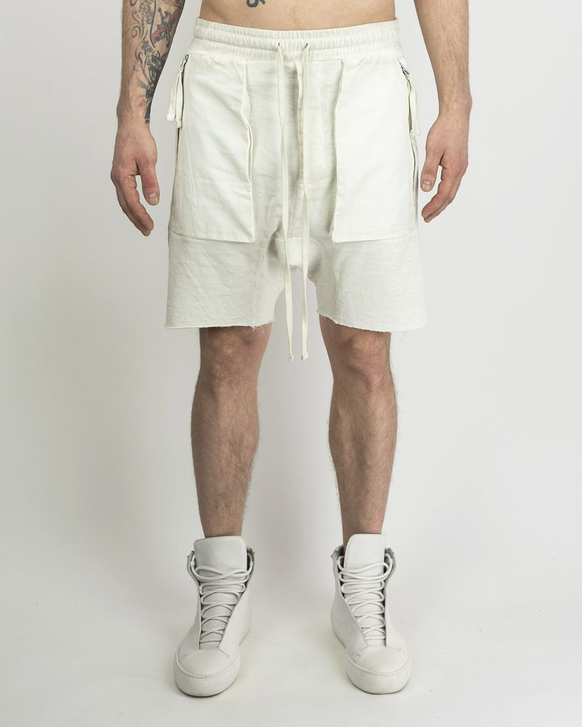 DRAWSTRING SHORTS WITH ZIP FRONT POCKETS - OFF WHITE