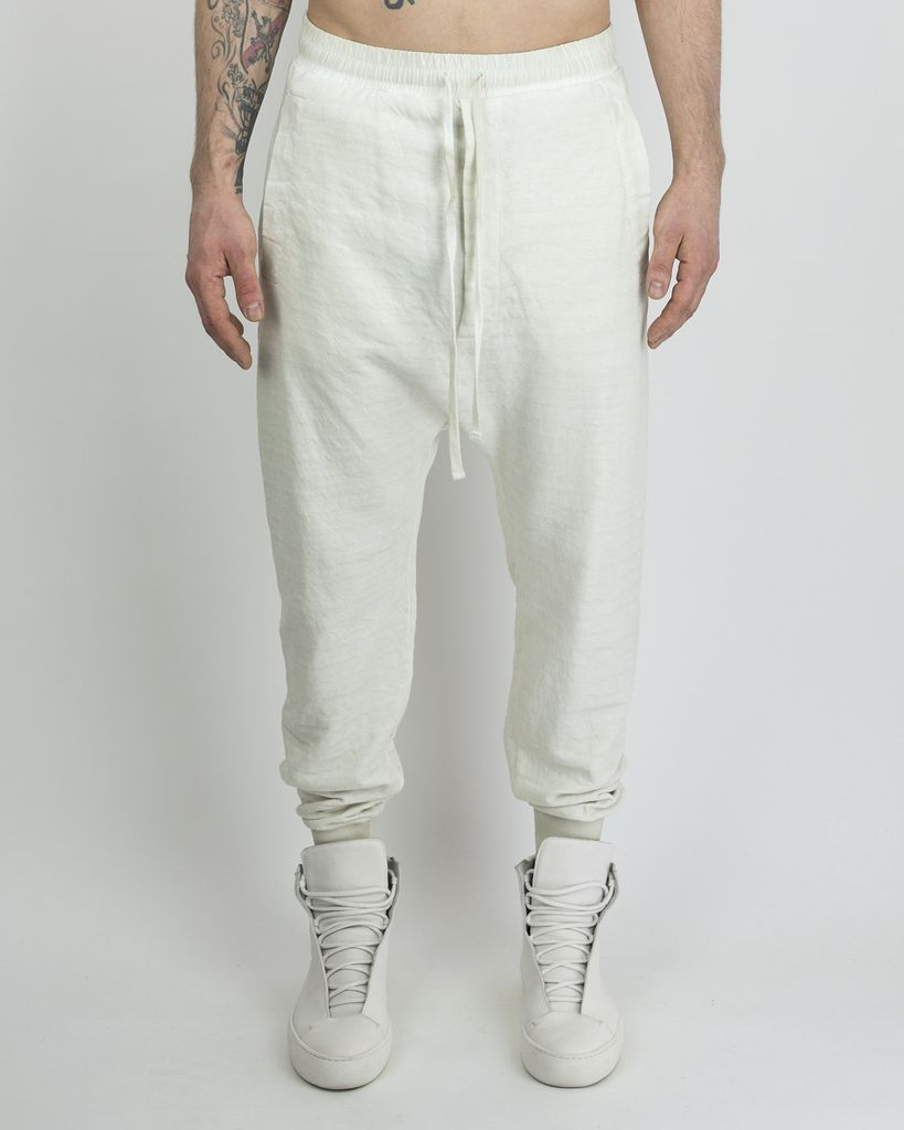 TROUSER WITH ZIPPERED BACK POCKETS - OFF WHITE