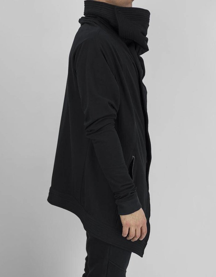 SANDRINE PHILIPPE SIDE CLOSURE DRAPE NECK COTTON COAT