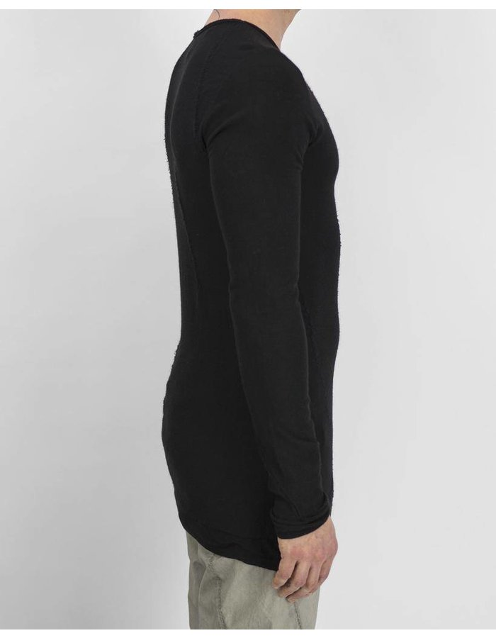 MASNADA INTARSIA SEAMED TEE SHIRT -BLACK