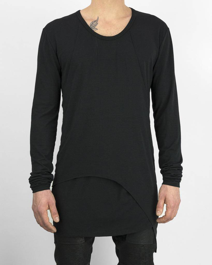 PANELED L/S JERSEY TOP BLK