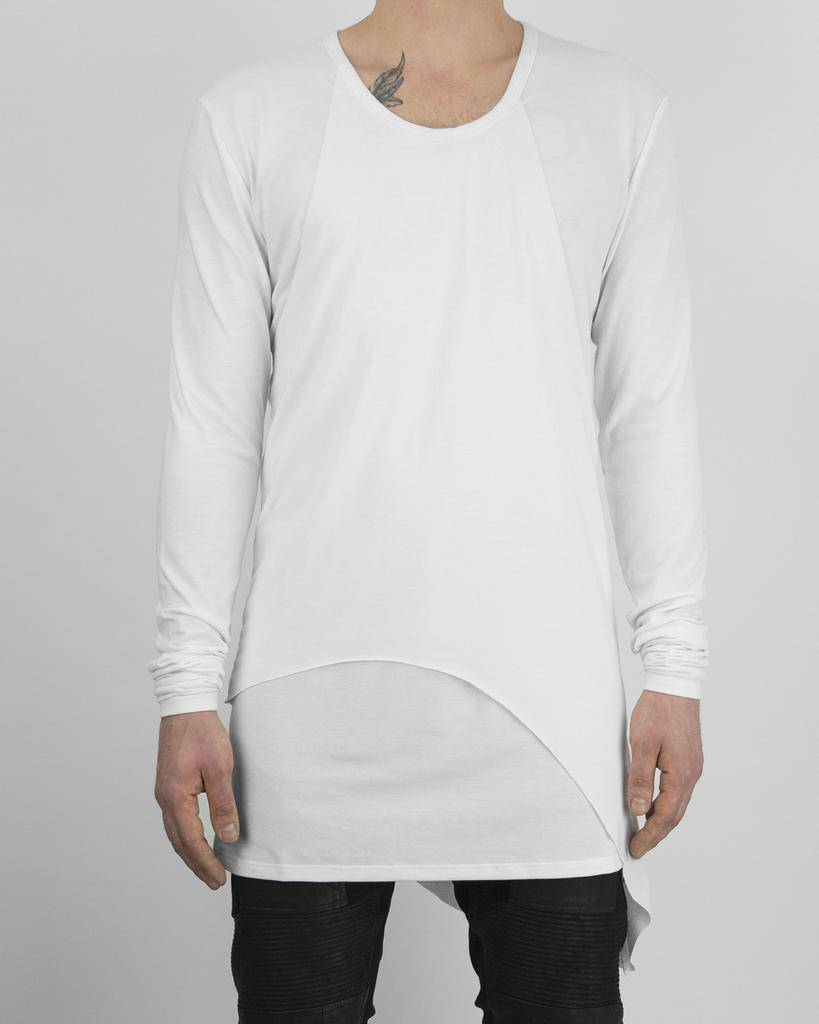 PANELED L/S JERSEY TOP WHT