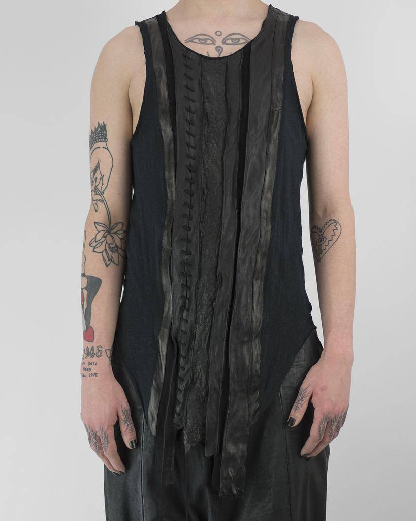LEATHER STRIP TANK TOP WITH LACING
