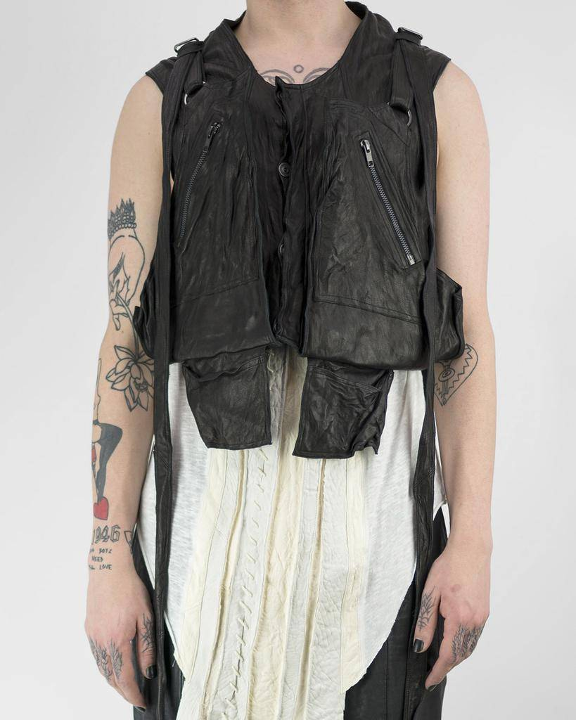 LAYERED LEATHER UTILITY VEST