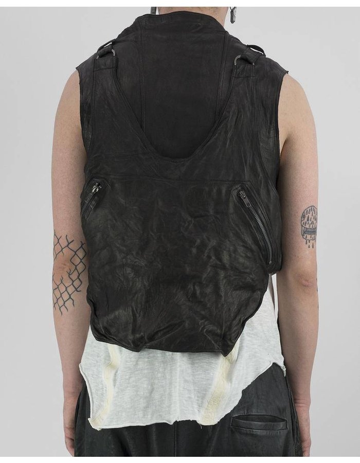 SANDRINE PHILIPPE LAYERED LEATHER UTILITY VEST