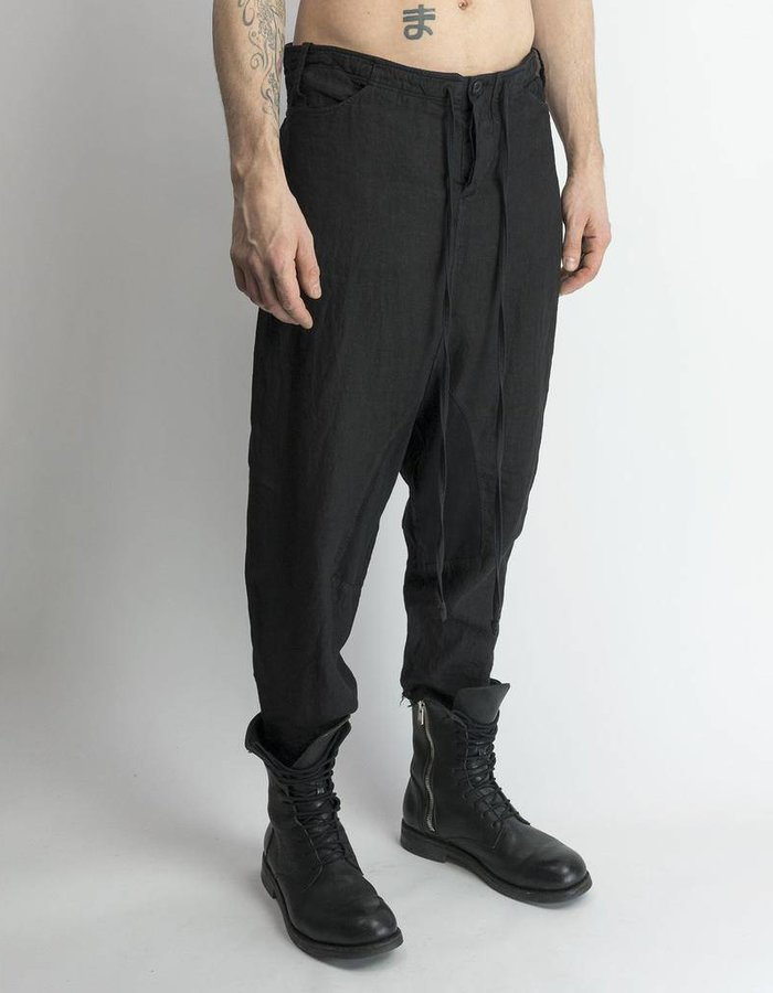 LOST AND FOUND ROOMS LINEN TAILORED BACK PANT BLK