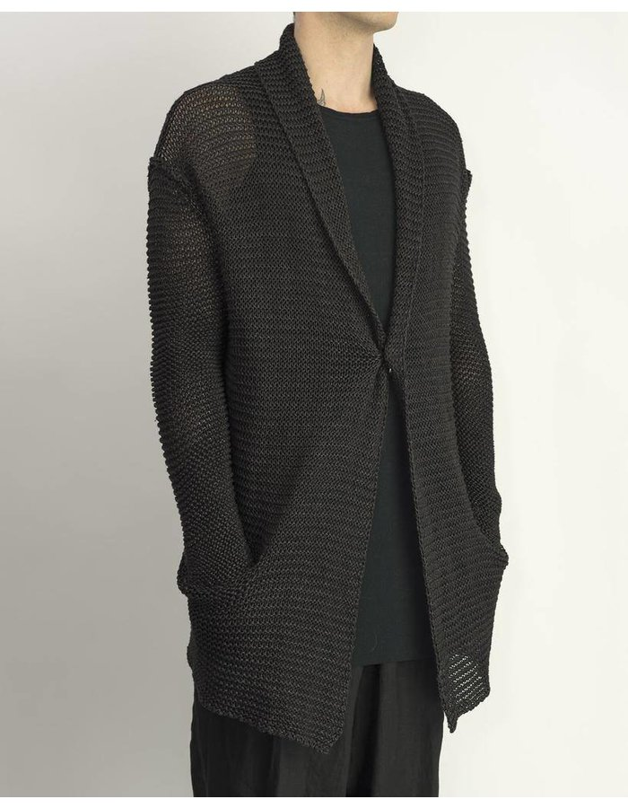 ISABEL BENENATO 1 BUTTON KNITTED CARDIGAN -BLACK