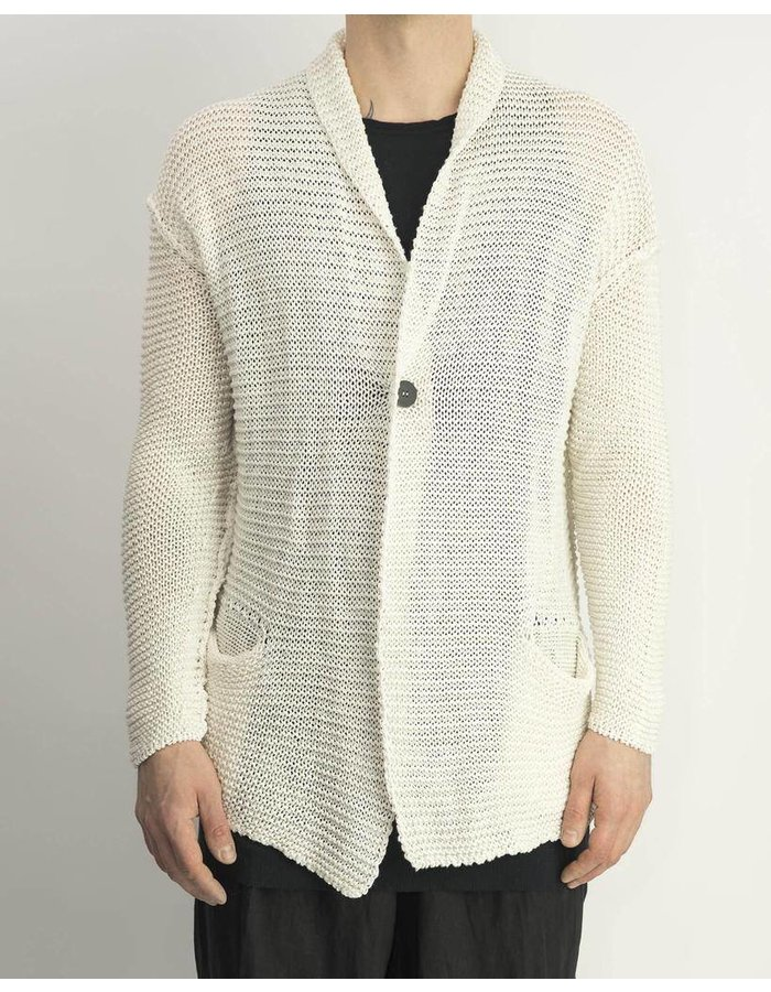 ISABEL BENENATO 1 BUTTON KNITTED CARDIGAN - MILK