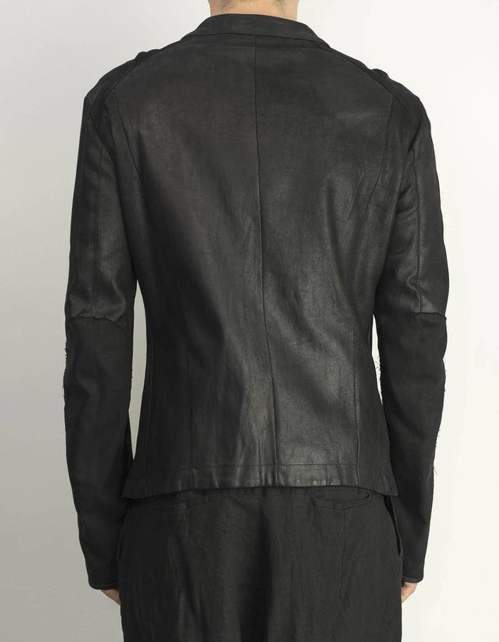 ISABEL BENENATO STRETCH LEATHER ZIP FRONT JACKET