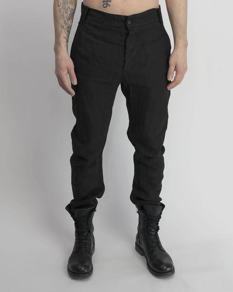 LINEN CURVED LEG PANT BLACK