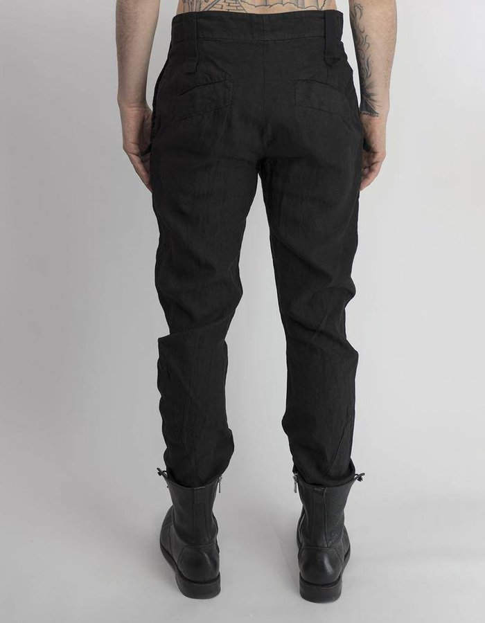 LOST AND FOUND ROOMS LINEN CURVED LEG PANT BLK