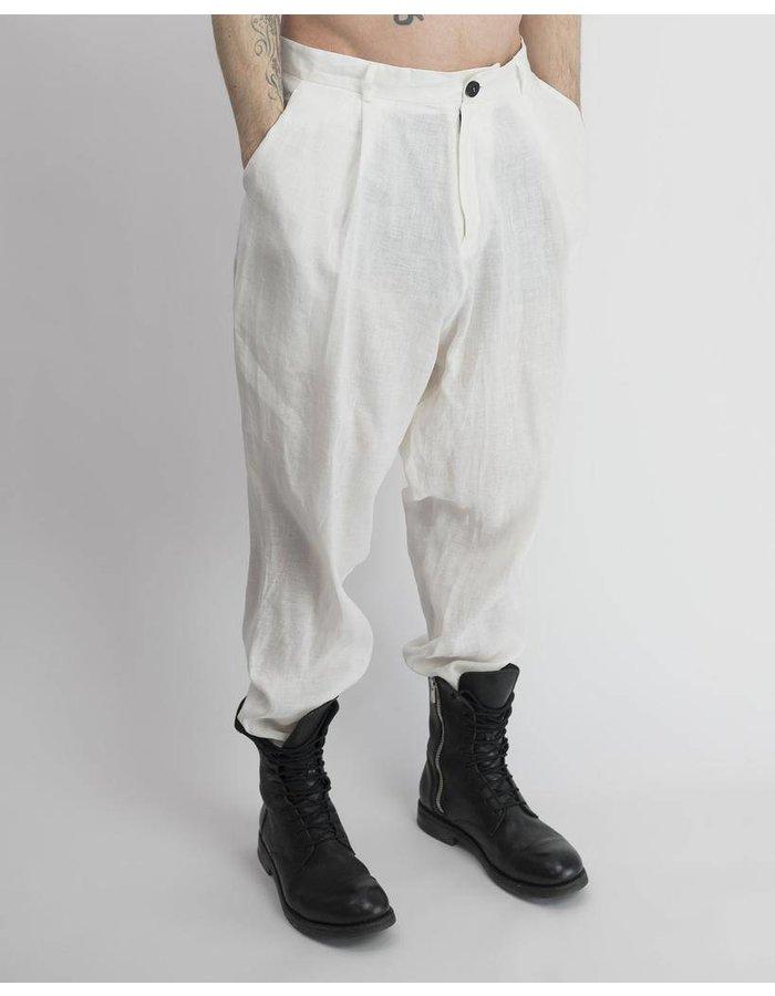 ISABEL BENENATO DROP CROTCH LINEN TROUSER<br /> WHITE