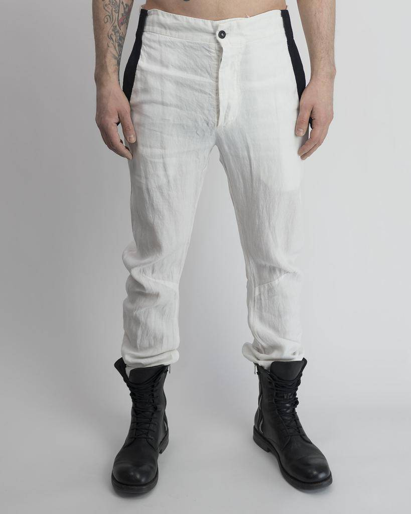 LINEN CURVED LEG PANT -WHITE