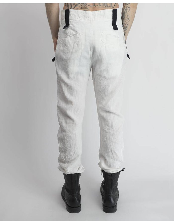 LOST AND FOUND ROOMS LINEN CURVED LEG PANT -WHT