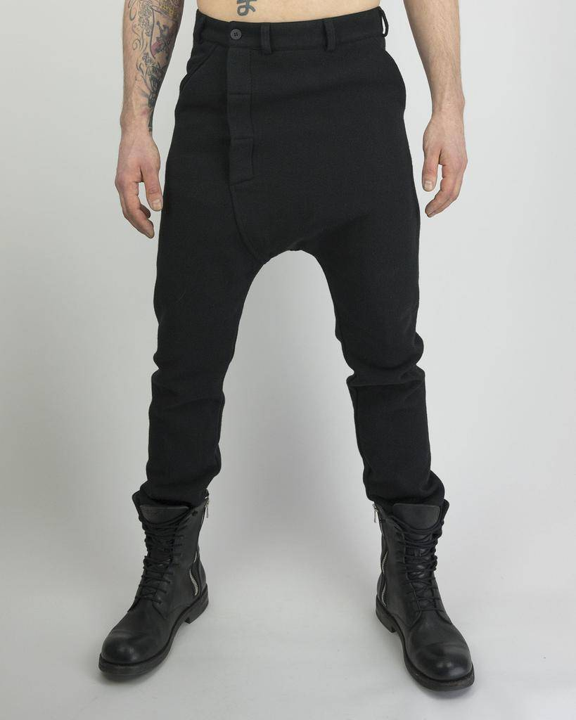 WOOL ASYMETRIC FLY TROUSERS