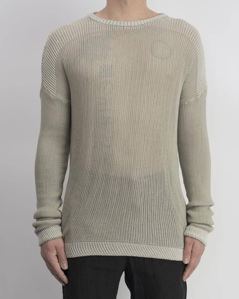 COTTON KNIT CREW SWEATER :SAND