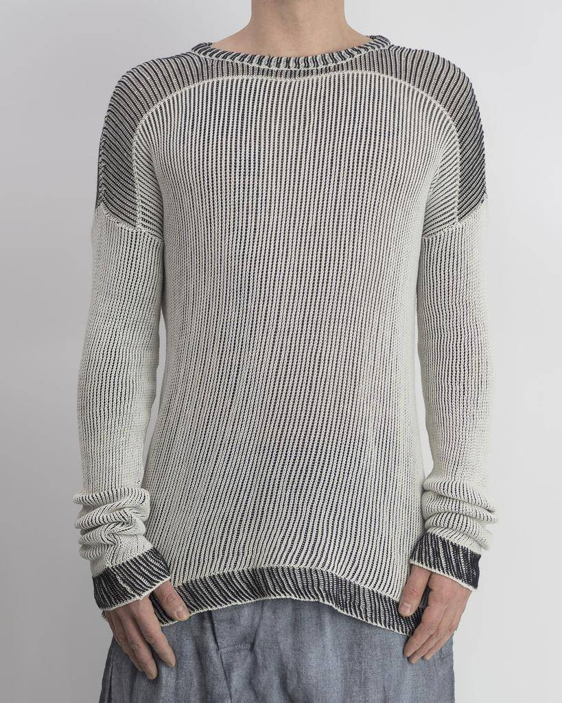 COTTON KNIT CREW SWEATER :IVORY