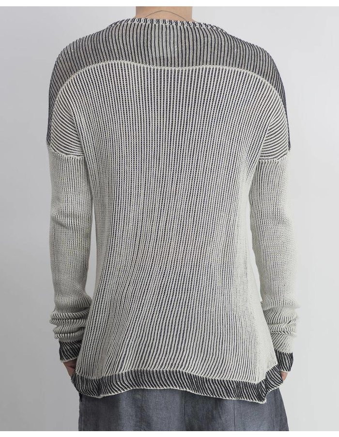 LOST AND FOUND ROOMS COTTON KNIT CREW SWEATER :IVORY