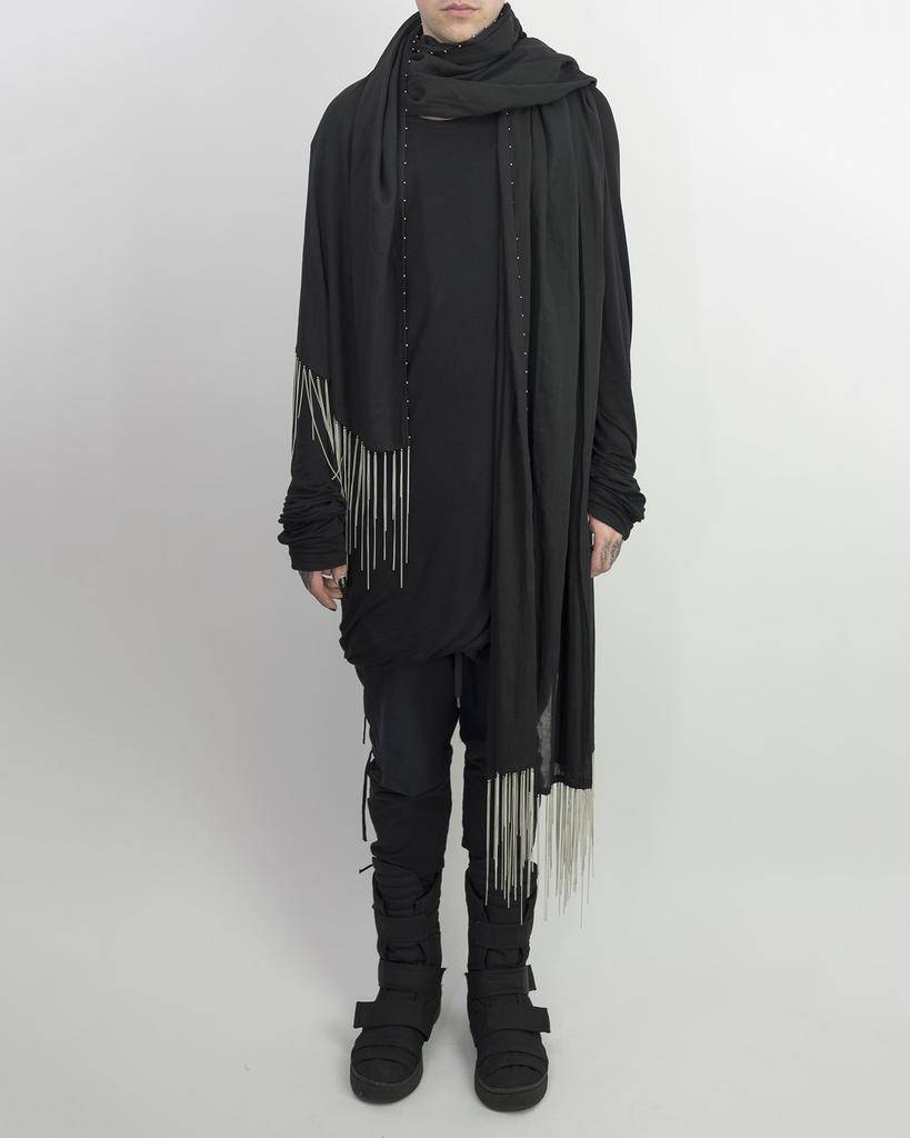 LONG SCARF WITH METAL CHAINS BLACK