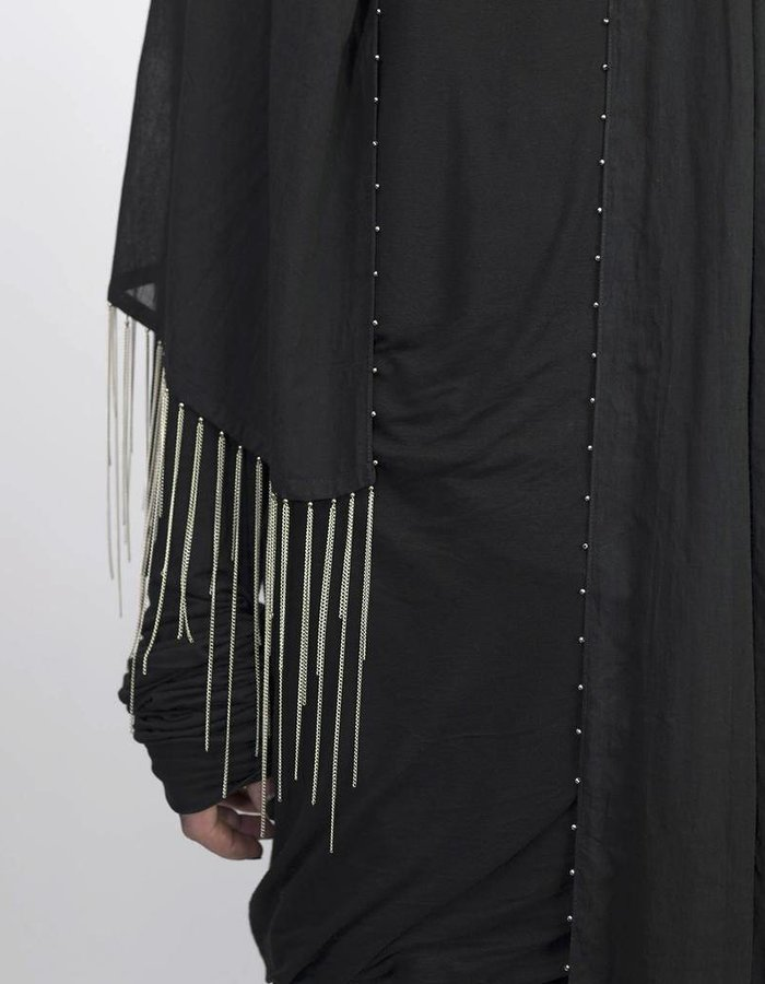 DAVID'S ROAD LONG SCARF WITH METAL CHAINS BLACK