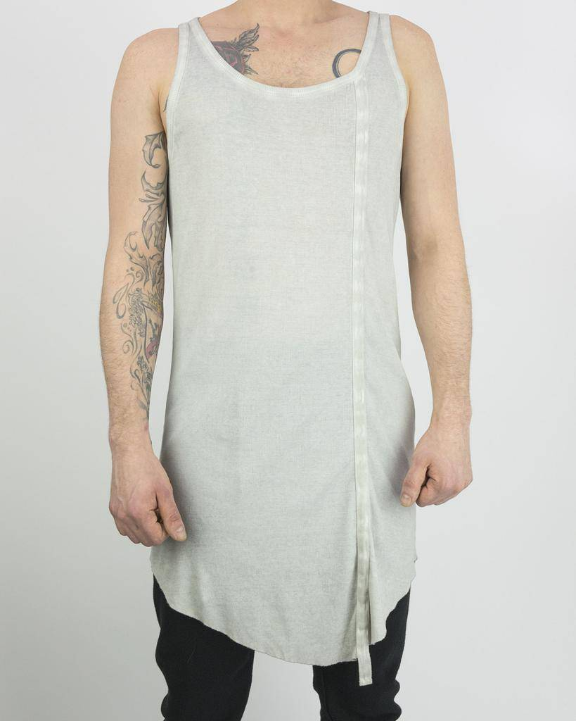 RIBBED LONG TANK TOP:CEMENT